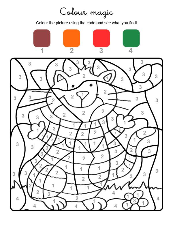 Dibujo mágico para colorear en inglés de gato con rayas