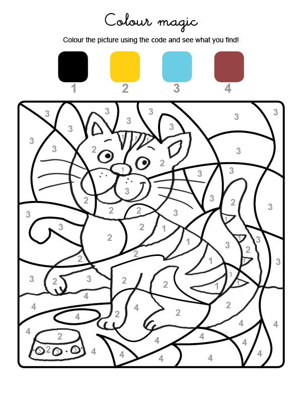 Dibujo mágico para colorear en inglés de un gato tigre