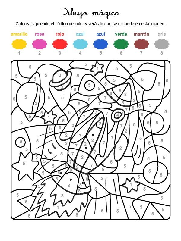 Dibujo mágico para colorear un cohete en el espacio