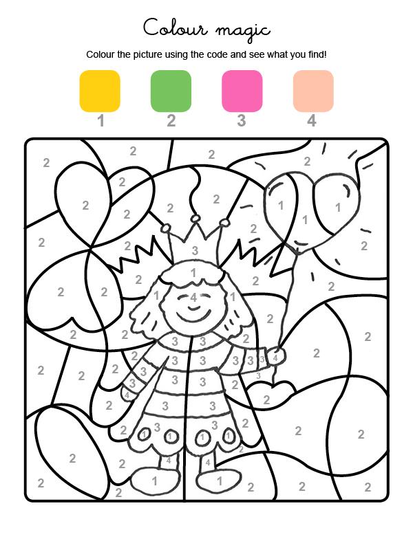 Dibujo magico para colorear en ingles de una princesa para el día de la madre