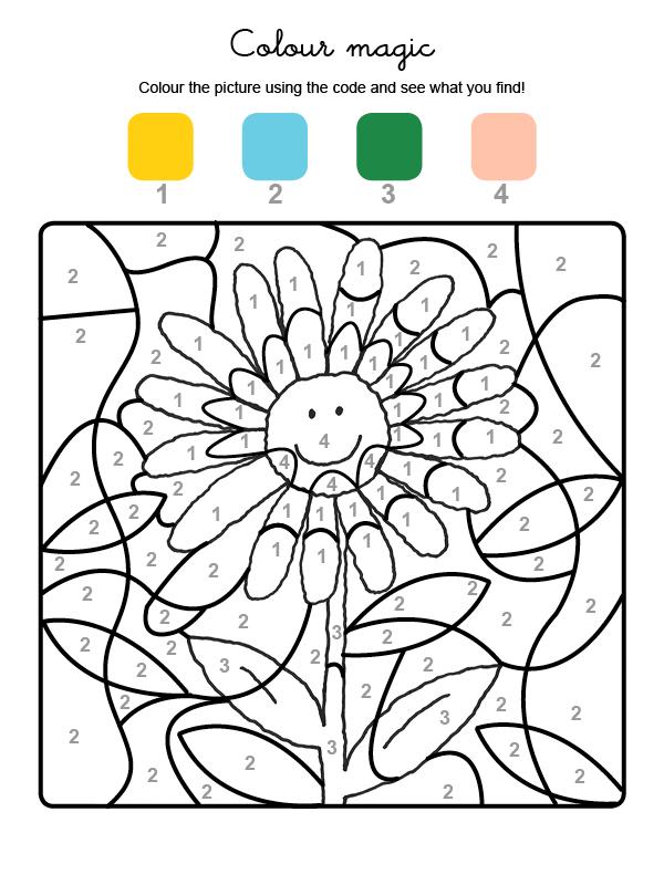 Dibujo mágico para colorear de una margarita