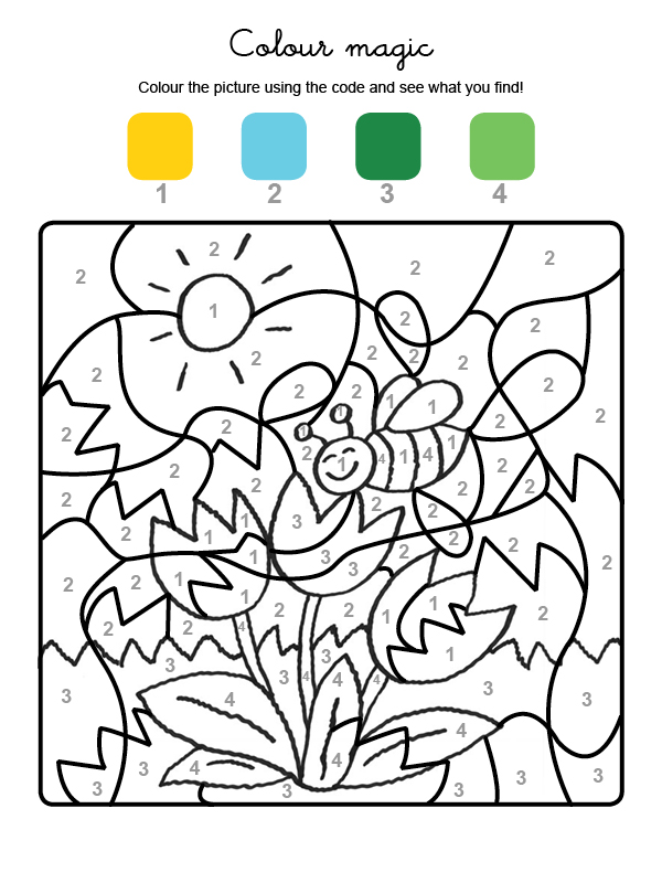 Colour by numbers: una abeja y flores