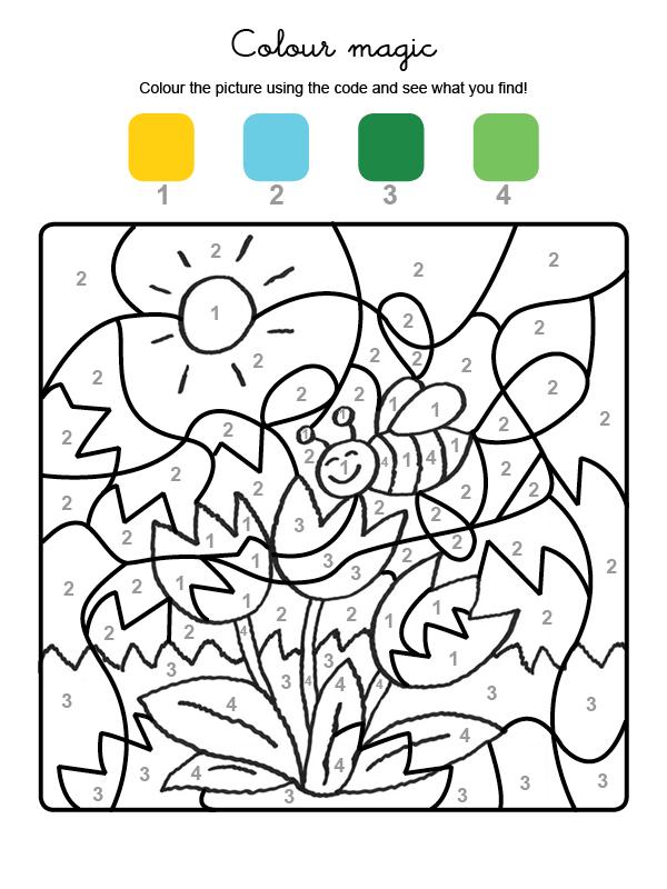 Dibujo mágico para colorear en inglés de flores y abeja