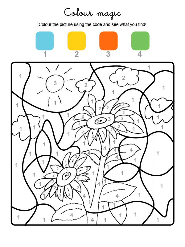 Colour By Numbers Girasoles Dibujos Para Colorear