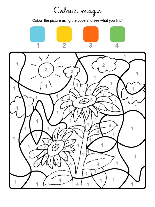 Dibujo para colorear en inglés de unos girasoles