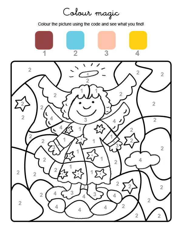 Dibujo mágicopara colorear en inglés de un ángel de Navidad