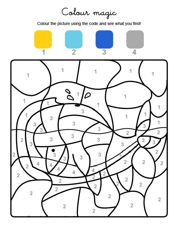 Dibujo mágico para colorear en inglés de una ballena en el agua
