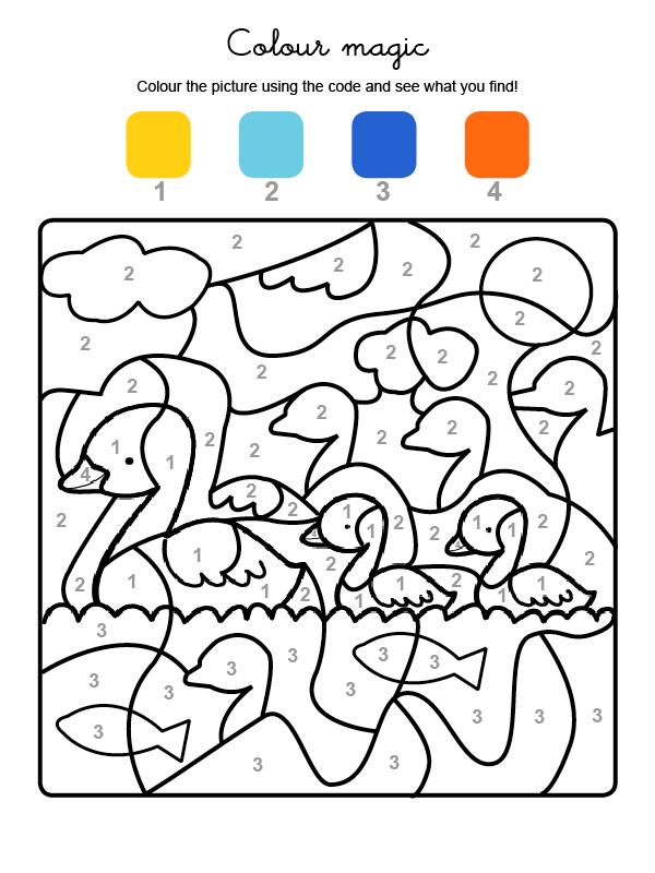 Dibujo mágico para colorear en inglés de una familia de patos