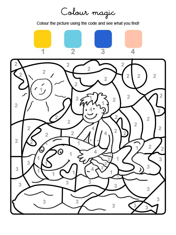 Dibujo mágico para colorear en inglés de un pez hinchable gigante