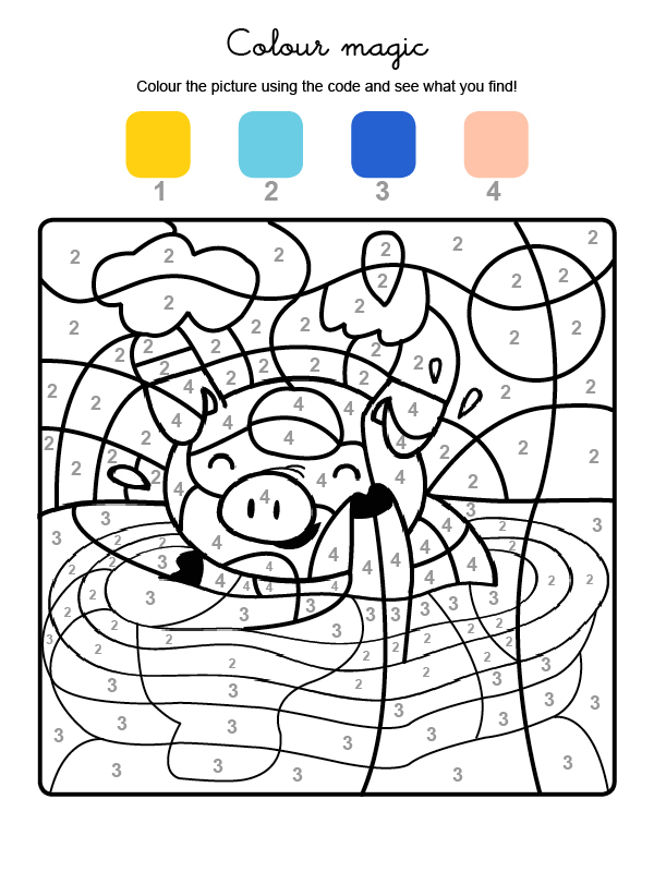 Colour by numbers: un cerdito: Dibujos para colorear