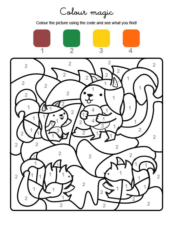 Dibujo mágico para colorear en inglés de una familia de ardillas