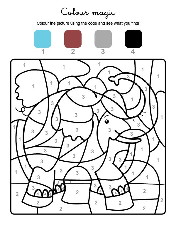 Dibujo mágico para colorear en inglés de un elefante