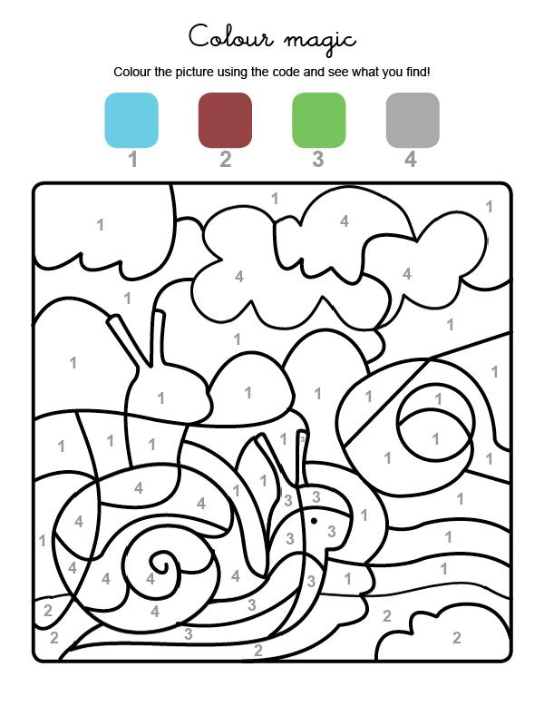 Dibujo mágico para colorear en inglés de un caracol