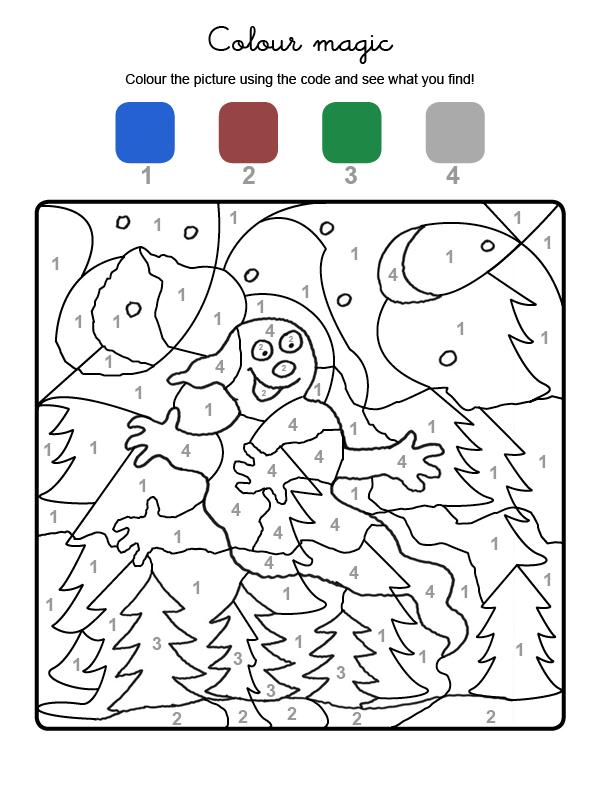 Dibujo mágico para colorear en inglés de un fantasma en la noche