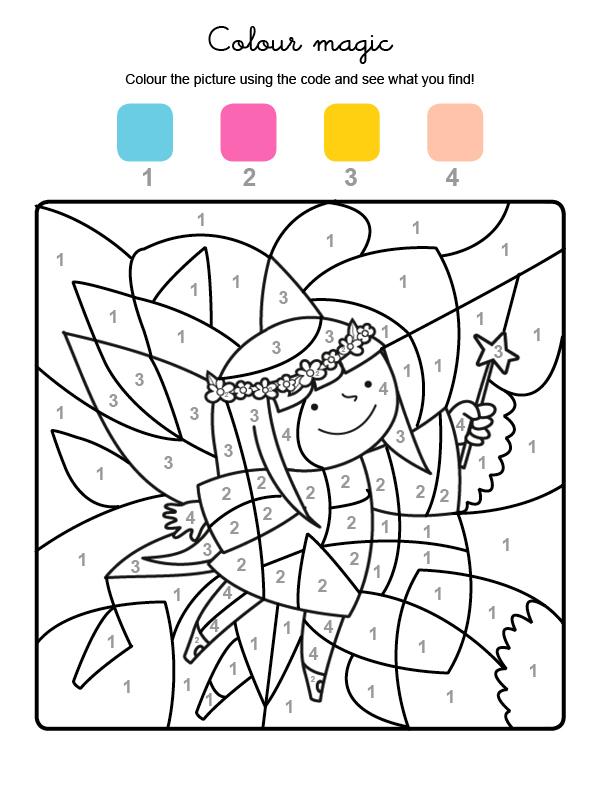Dibujo mágico para colorear en inglés de un hada con su varita mágica