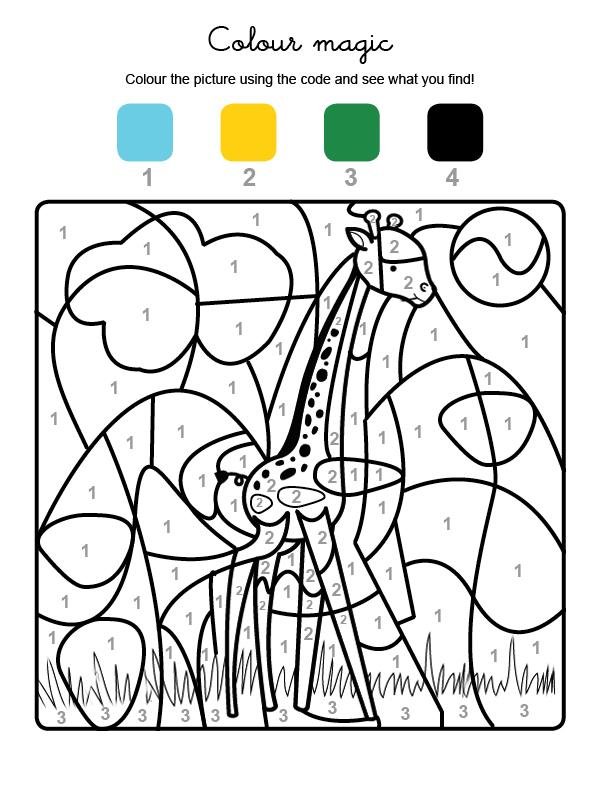 Dibujo mágico para colorear en inglés de una jirafa en la sabana africana