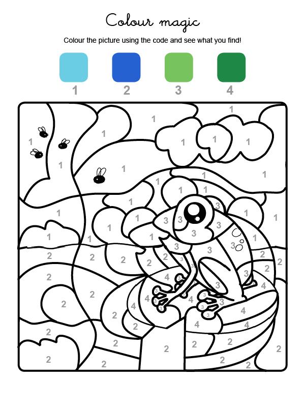 Dibujo mágico para colorear en inglés de una rana y abjeas