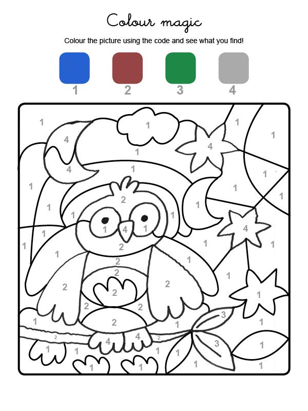 Dibujo mágico para colorear en inglés de un búho bajo la luna