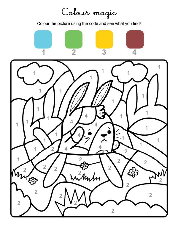 Dibujo mágico para colorear en inglés de un conejo en el campo