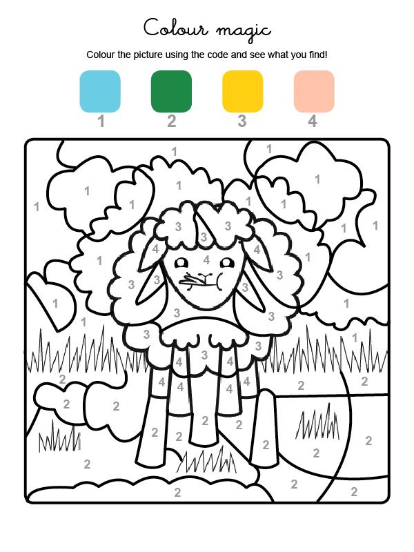Dibujo mágico para colorear en inglés de una obeja