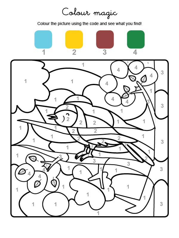 Dibujo mágico para colorear en inglés de un pajarito cantando