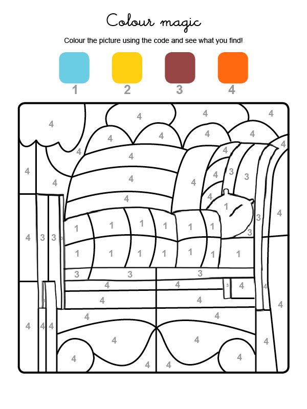 Dibujo mágico para colorear en inglés de una cama con colcha y almohada