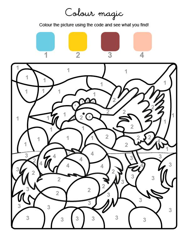 Dibujo mágico para colorear en inglés de una gallina de Pascua