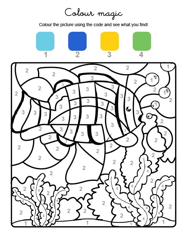 Dibujo mágico para colorear en inglés de un pez en el agua