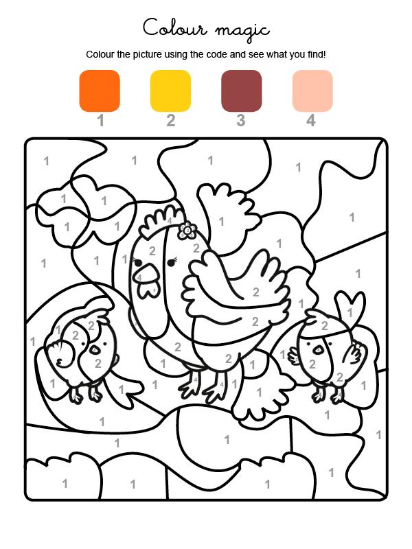 Dibujo mágico para colorear en inglés de una gallina con sus polluelos