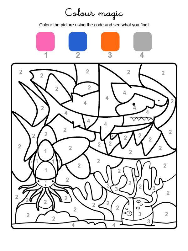 Dibujo mágico para colorear en inglés de un tiburón bajo el agua