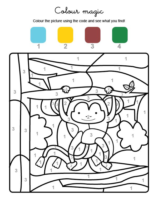 Dibujo mágico para colorear en inglés de un mono colgado de un árbol