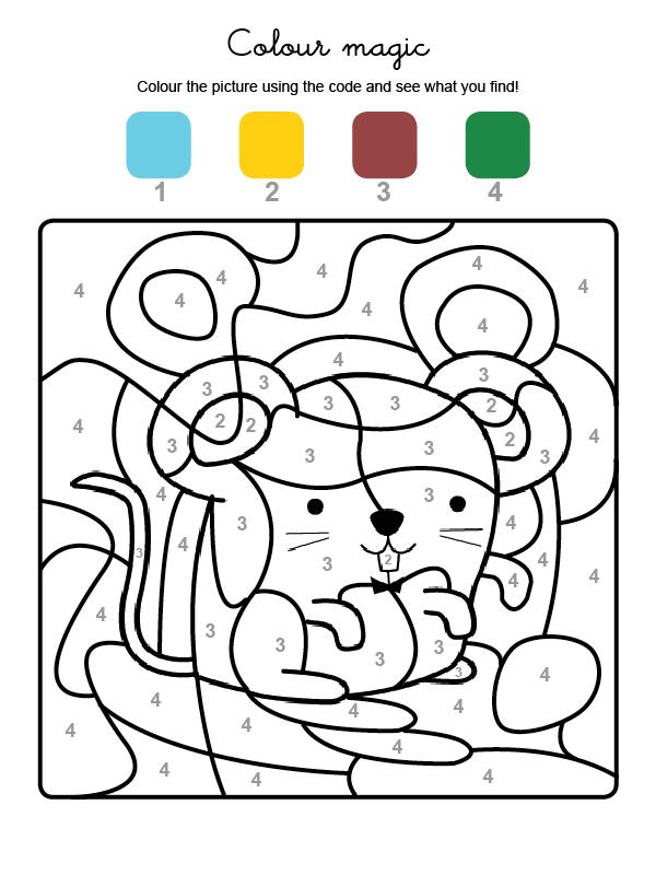 Dibujo mágico para colorear en inglés de un ratón