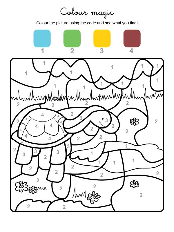 Dibujo mágico para colorear en inglés de una tortuga en el campo