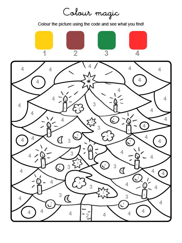 dibujo mgico para colorear en ingls de adornos de rbol de navidad