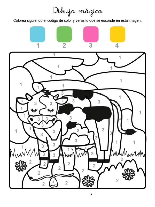 Dibujo mágico para colorear en inglés de una vaca lechera en el campo