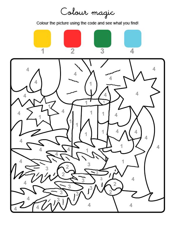 Dibujo mágico para colorear en inglés de una vela de Navidad