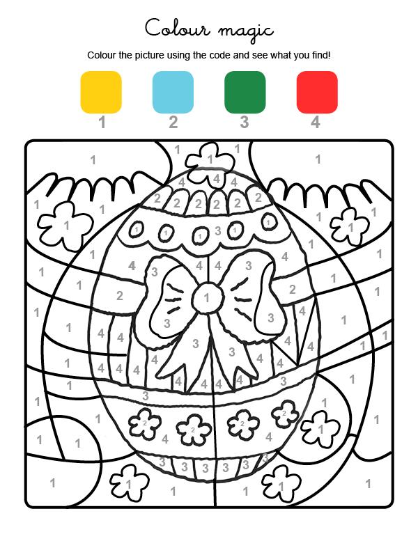 Dibujo mágico para colorear en inglés de huevo de Pascua con adornos