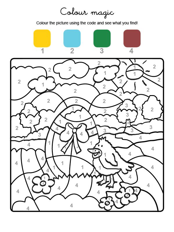 Dibujo mágico para colorear en inglés de un polluelo y huevo de Pascua
