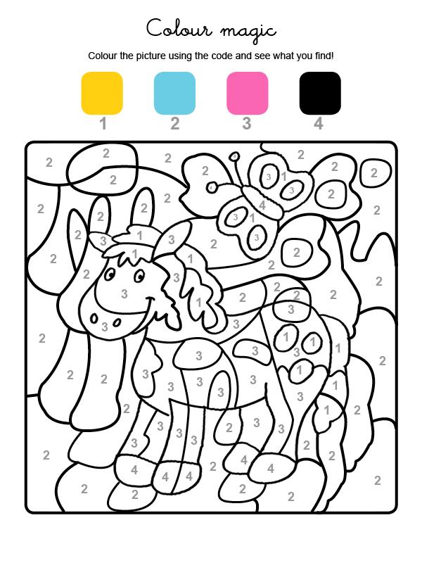 Dibujo mágico para colorear en inglés de un poni y una mariposa