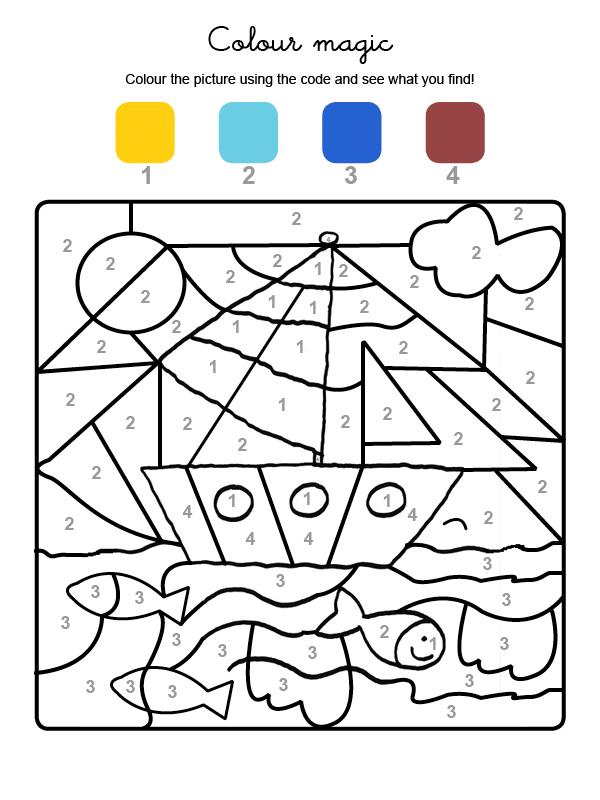Dibujo mágico para colorear en inglés de un velero en el mar