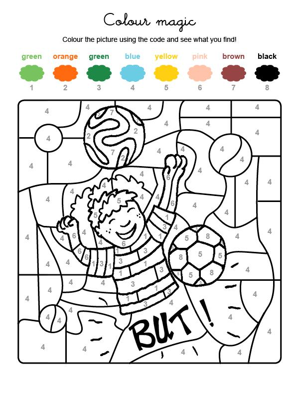 Dibujo mágico para colorear en inglés de un jugador de fútbol
