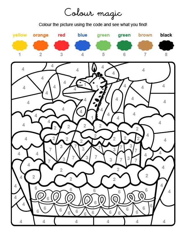 Dibujo mágico para colorear en inglés de cumpleaños 7