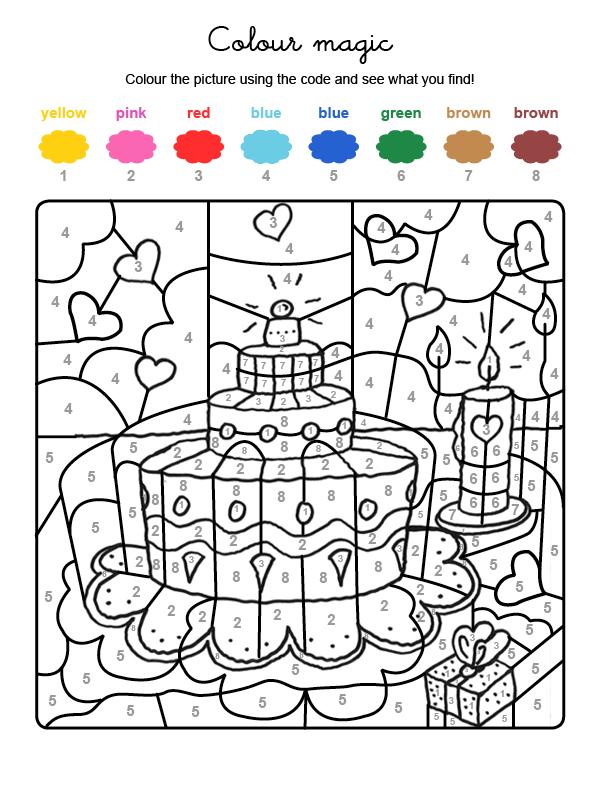 Dibujo mágico para colorear en inglés de una tarta de cumpleaños