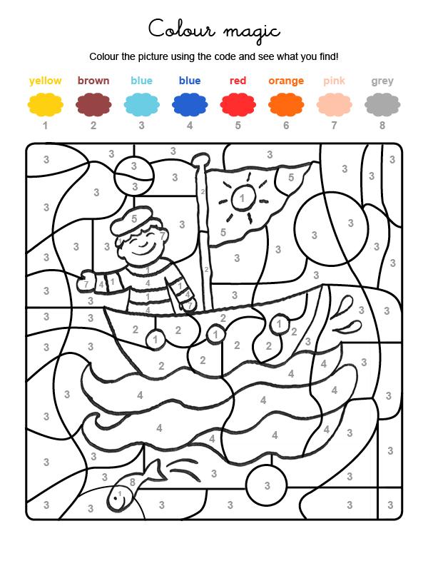 Dibujo mágico para colorear en inglés de un marinero en su barco