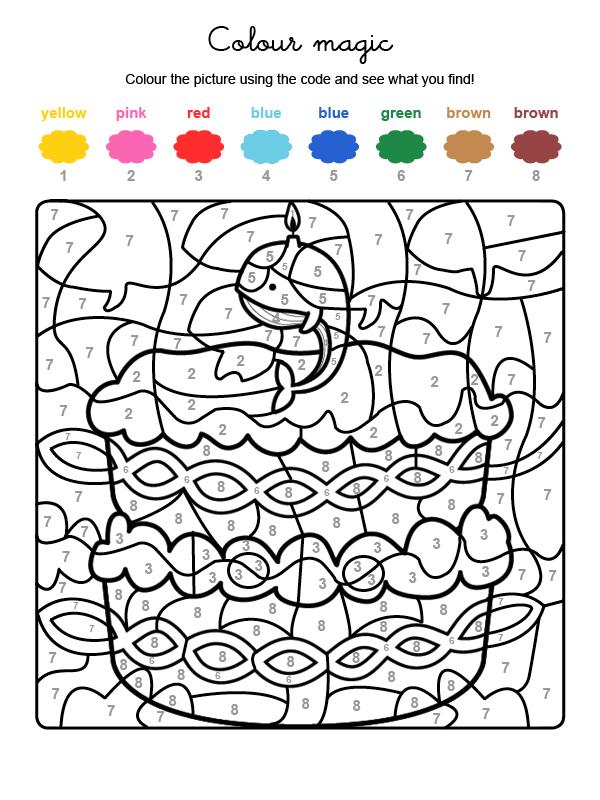 Dibujo mágico para colorear en inglés de cumpleaños 9