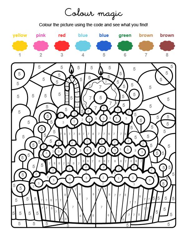 Dibujo mágico para colorear en inglés de cumpleaños 10