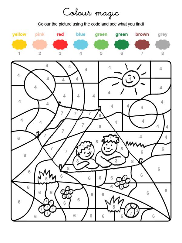 Dibujo mágico para colorear en inglés de niños en una tienda de camapaña