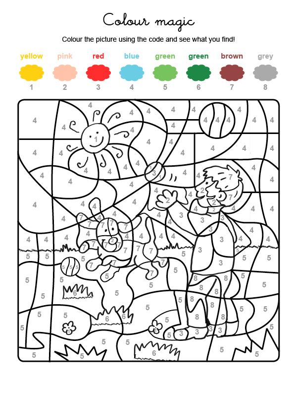 Dibujo mágico para colorear en inglés de un niño y un perro jugando