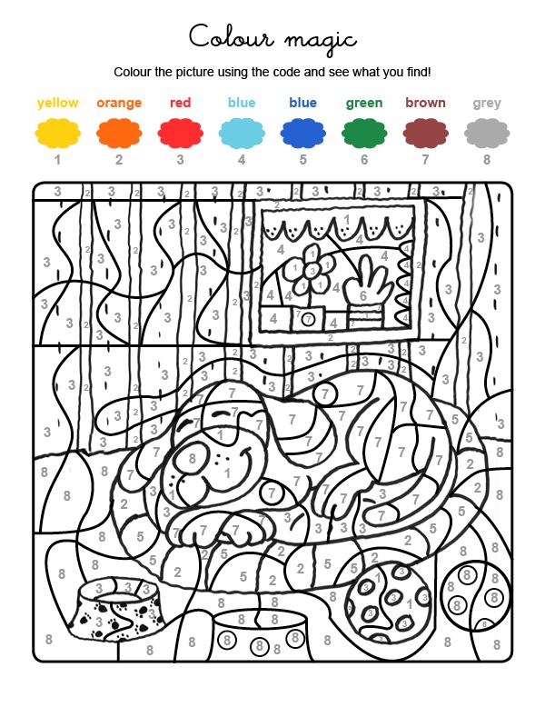 Dibujo mágico para colorear en inglés de un perro durmiendo