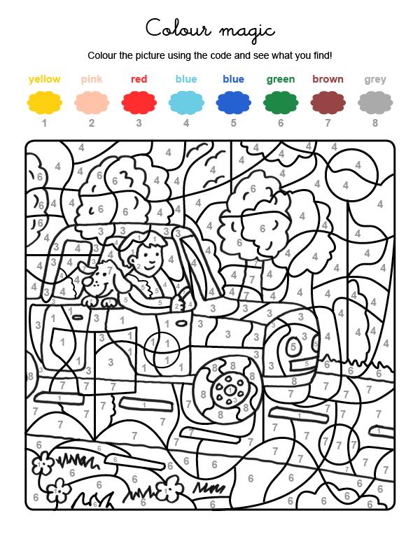 Dibujo mágico para colorear en inglés de un perro de vacaciones con su amo